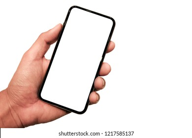 Hand holding, New version of black slim smartphone similar to iphone x with blank white screen from Apple generation 10 , Front mockup model similar to iPhonex isolated on white background
