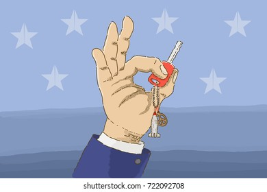 A hand holding a nuclear bomb key chain. / The Peace Breaker/ Illustration / line / drawing