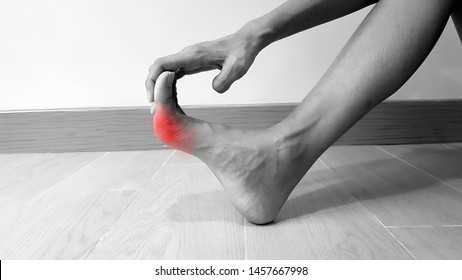 Hand holding on foot anatomy with red highlight on painful area. Toe pain may cause from bone fracture, tendinitis, ligament sprain, gout arthritis or bunion disease. medical symptom concept