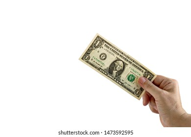 Hand holding one American Dollar Banknote,isolated on white background.