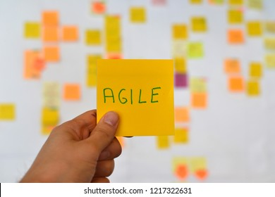 A hand is holding a orange agile sticker and there is a Kanban board of agile methodology on the background, which is a developing trend in Information Technology (IT) business.