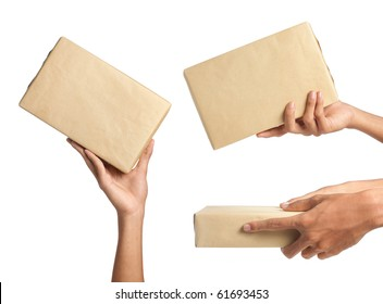 hand holding a package. Three different ways to give the package to someone