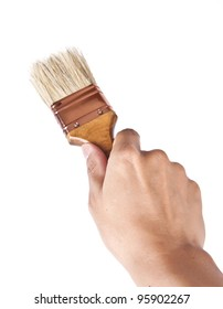 Hand holding a paint brush.