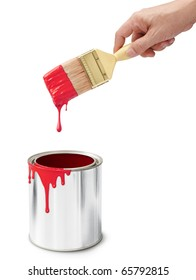 hand holding paintbrush after dipping into its bucket