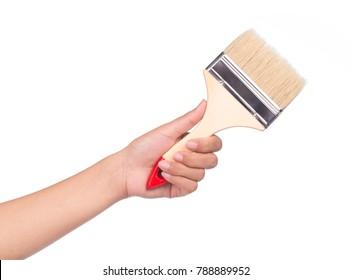 Hand holding painting brush isolated on white background