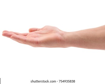 Hand holding a palm upwards on a white isolated background