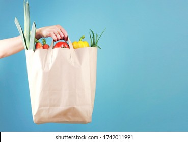 Hand holding paper bag with vegetables empty space blue background.Online market,internet supermarket.