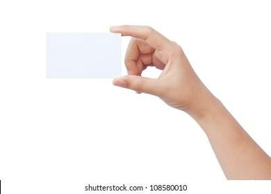 Hand holding a paper business card isolated on white background