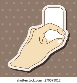 hand holding paper, cartoon stickers icon