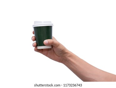 hand holding a paper cup of coffee on white background isolate, male Asia hand.