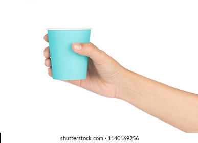 hand holding Paper cup isolated on white background