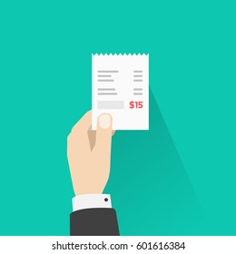 Hand holding paper receipt illustration, flat style person giving or receiving billing invoice with total expense image
