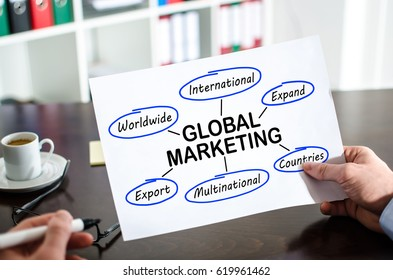 Hand holding a paper showing global marketing concept