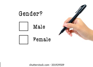 Hand holding pen answering gender questionnaire concept.