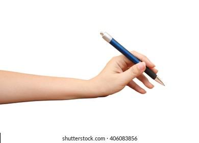 hand holding pen ,isolate white background