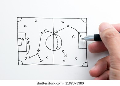 Hand holding pen sketching soccer tactic on white paper