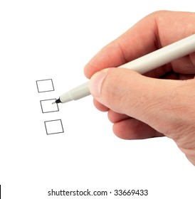 Hand holding a pen and three check boxes