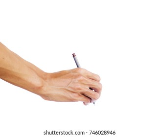 Hand holding pen writing something text isolated on white background. Clipping path. The pen is a device used to write letters to memorize the memories on paper. Many colors such as blue, red, black.