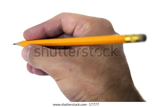 A hand holding a pencil writing isolated on white with clipping path.