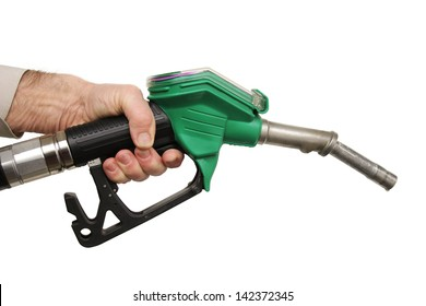 hand holding a petrol pump, isolated