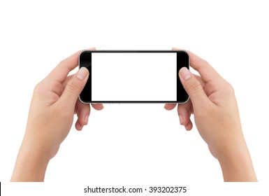 hand holding phone blank screen isolated white background with clipping path easy adjustment