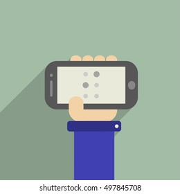 Hand Holding A Phone With I Letter
