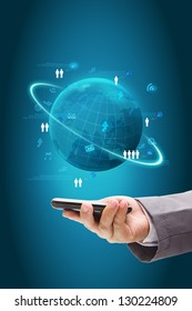 hand holding phone With Information technology business concept, Social Network process diagram