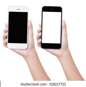 hand holding phone isolated with clipping path