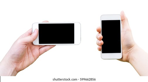 Hand holding phone isolated on white background., This has clipping path.