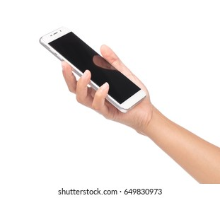 hand holding the phone isolated on white background