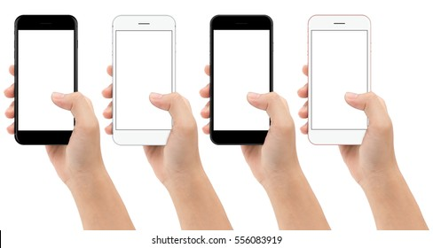 hand holding phone mobile isolated on white background clipping path inside, mock-up smartphone color set white screen easy adjust text