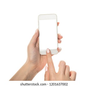 hand holding phone mobile and touching screen