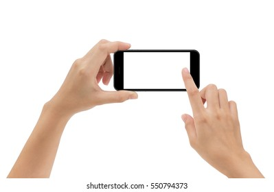 hand holding phone mobile and touching screen isolated on white background, mock-up smartphone matte black color