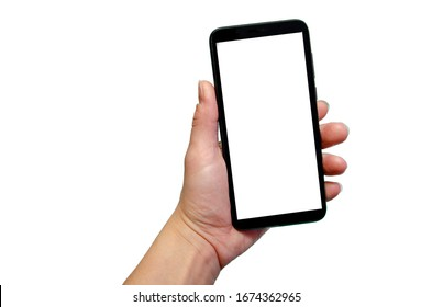 hand holding phone on white background