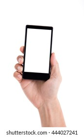 Hand holding phone on a white background.