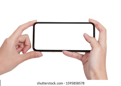 hand holding phone taking photo with mobile smartphone isolated on white background./Mock-up smartphone