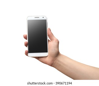 hand holding the phone in a white background