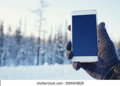 hand holding phone in the winter nature background