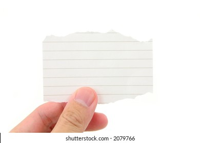hand holding a piece of blank notepaper with white background