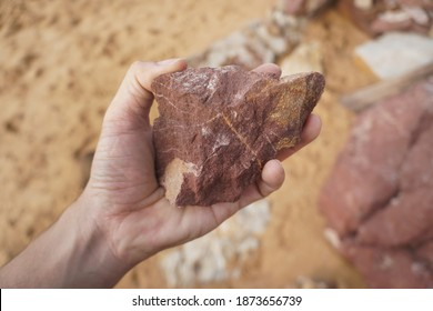 Hand holding a piece of red shale on nature background.