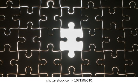 hand holding piece of white jig saw puzzle place to match or completing the final pazzle piece.Success,game,solve problem business concept.
