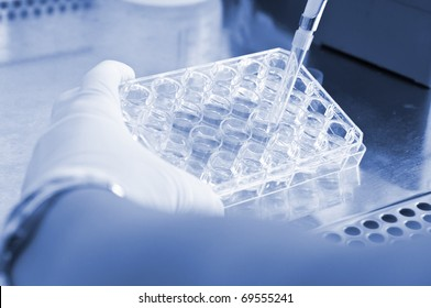 Hand holding a pipette dropping a sample in a test tube