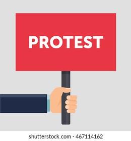 Hand holding protest sign flat illustration. Protest or demonstration. Political rally concept. Flat design. illustration.