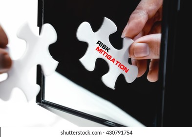 Hand holding puzzle in front of black folding mirror isolated on white with word Risk Mitigation. Selective focus.