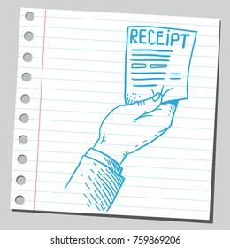 Hand holding a receipt