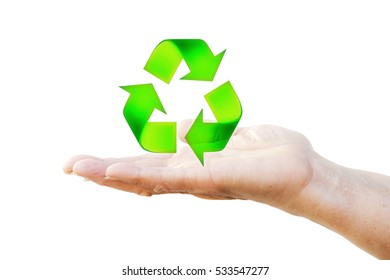 Hand holding recycling symbol