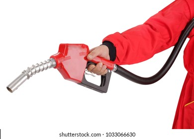 Hand is holding red gasoline pistol pump fuel nozzle
