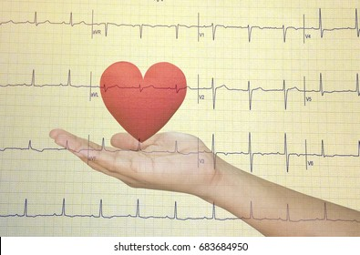 Hand holding  Red heart on Echocardiogram graph background.