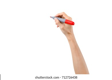 Hand holding red marker for writing isolated on white background