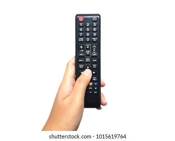 Hand holding remote control isolate on white background with clipping path